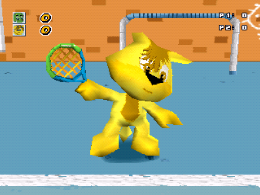 Baby Felix Tennis PlayStation PSone gameplay character close-up