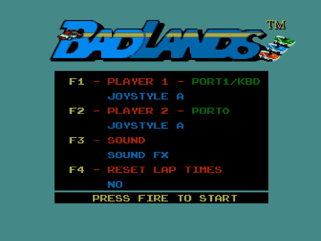 Badlands Amiga Commodore gameplay title screen