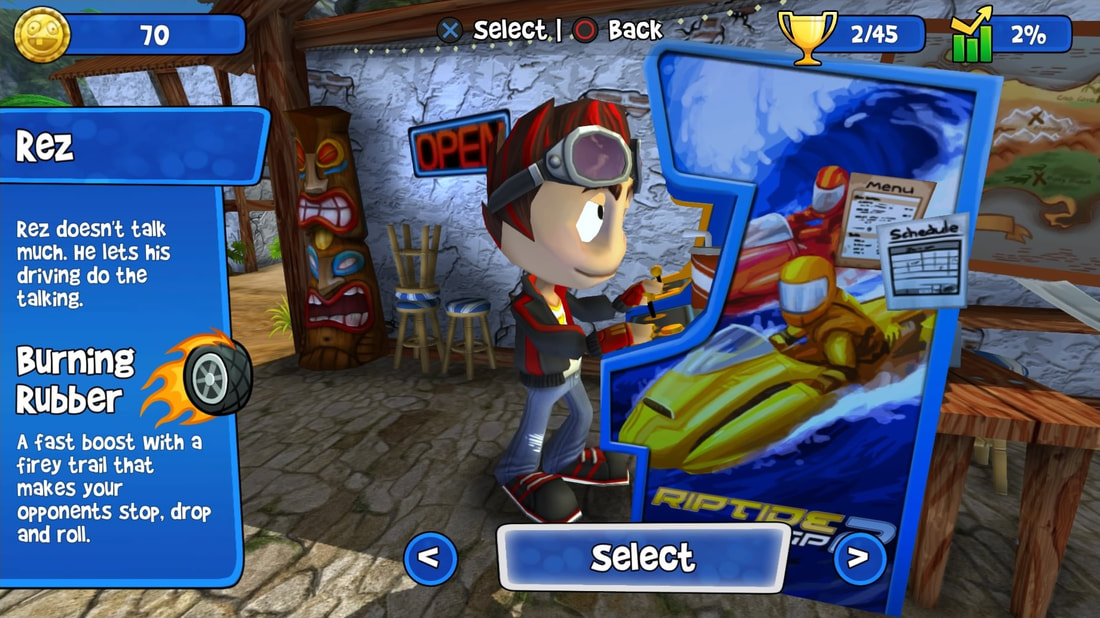 Beach Buggy Racing PS4 character select screen Rez