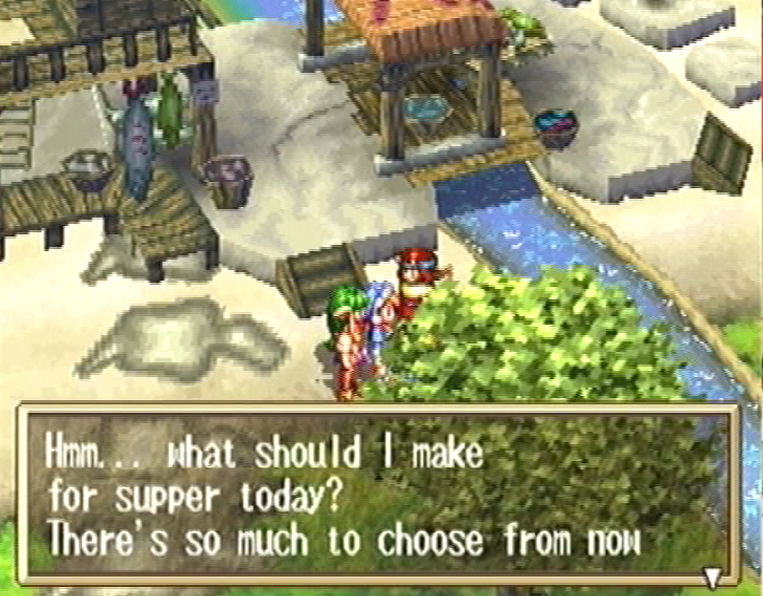 Grandia PS PlayStation exploring a town market