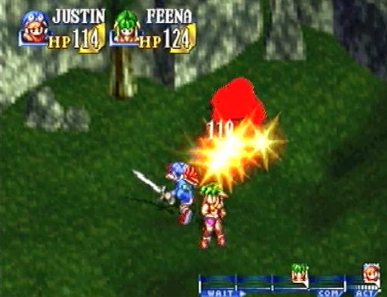 Grandia PS PlayStation justin feena battle