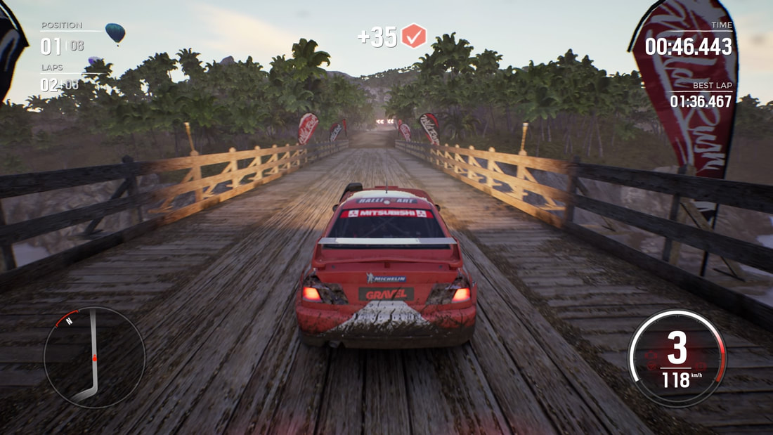 Gravel PlayStation 4 PS4 gameplay Mitsubishi Lancer bridge