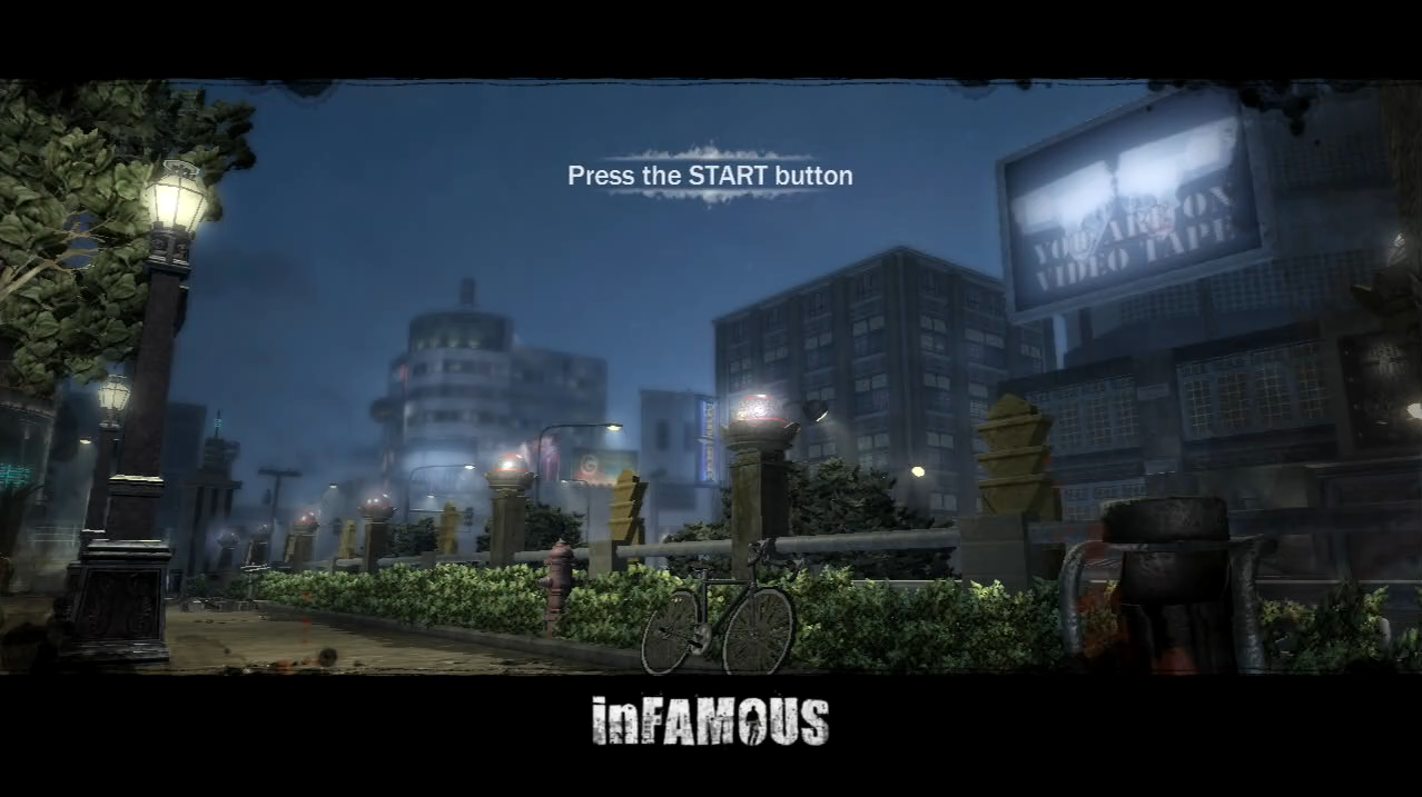 inFAMOUS PlayStation 3 PS3 title screen