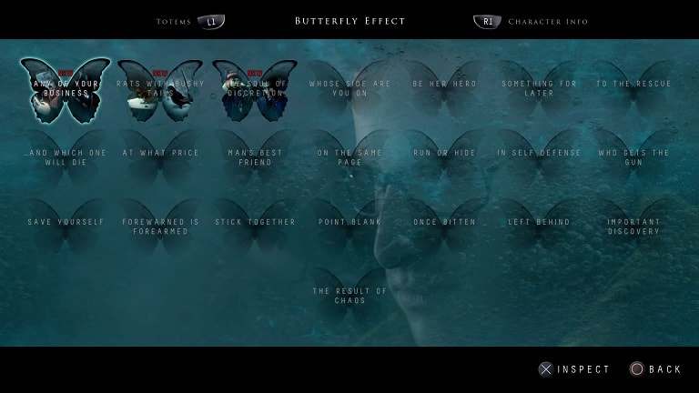 Until Dawn PS4 butterfly effect chart