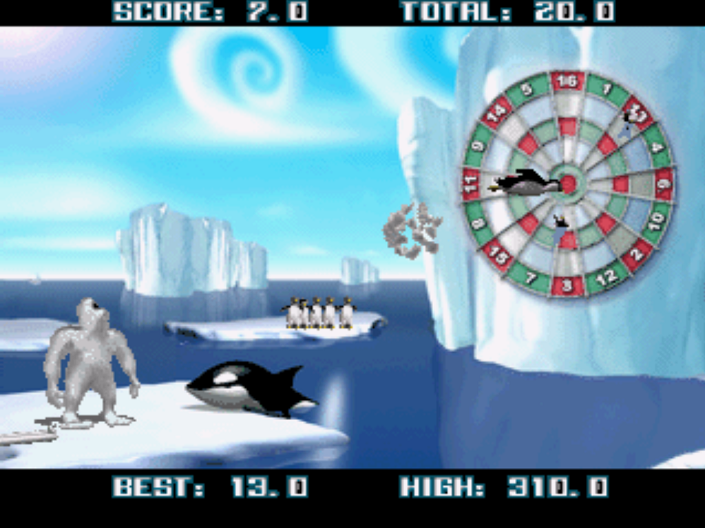 Yetisports Deluxe PlayStation PS1 gameplay Orca Slap dartboard penguins