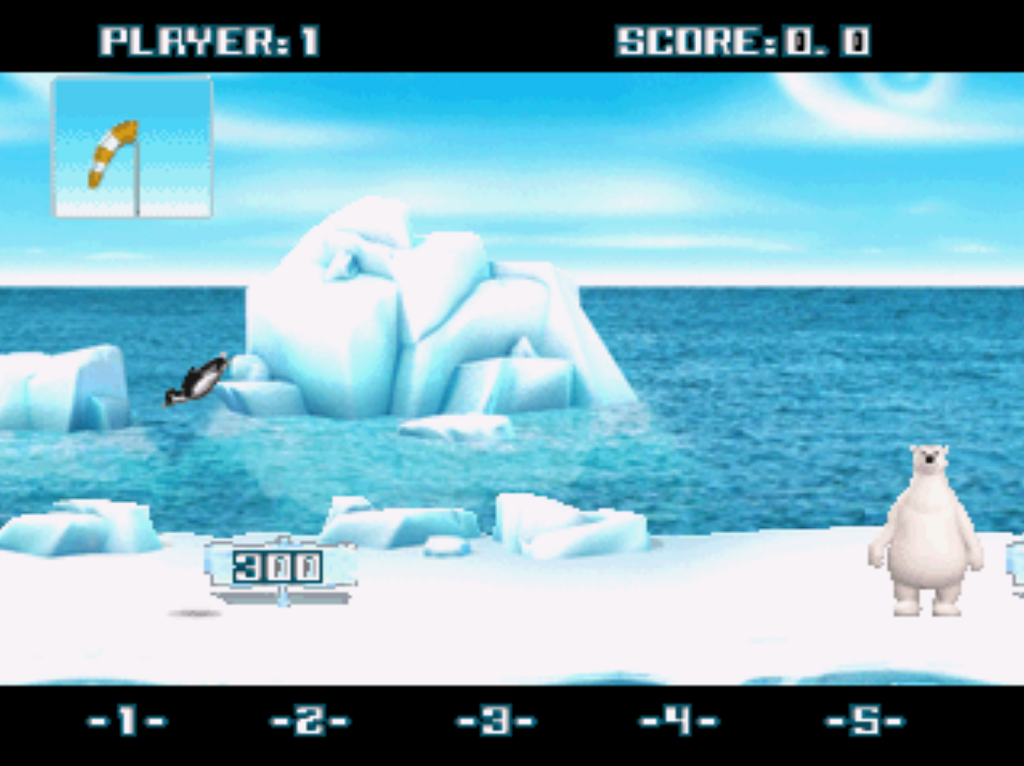 Yetisports Deluxe PlayStation PS1 gameplay pingu throw