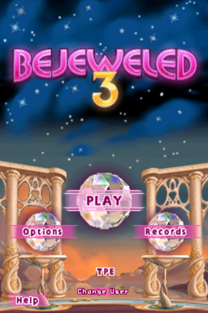 Bejeweled 3 Nintendo DS title screen