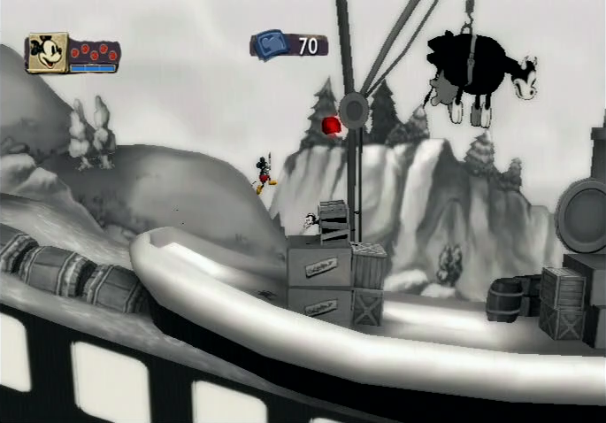 Epic Mickey Nintendo Wii 2D black and white