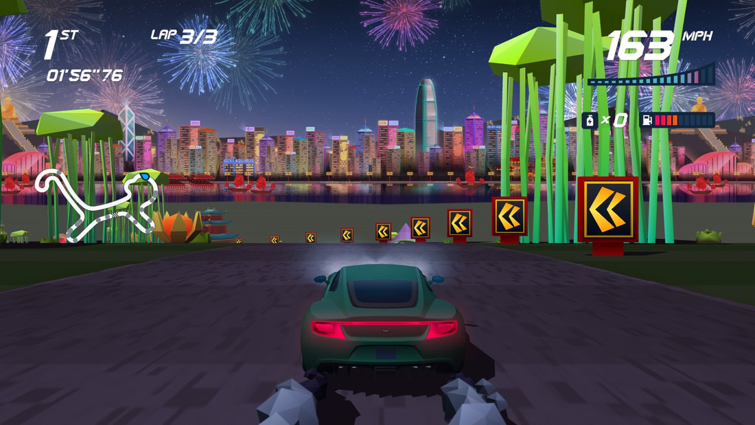 Horizon Chase Turbo PlayStation 4 PS4 Aston Martin fireworks gameplay