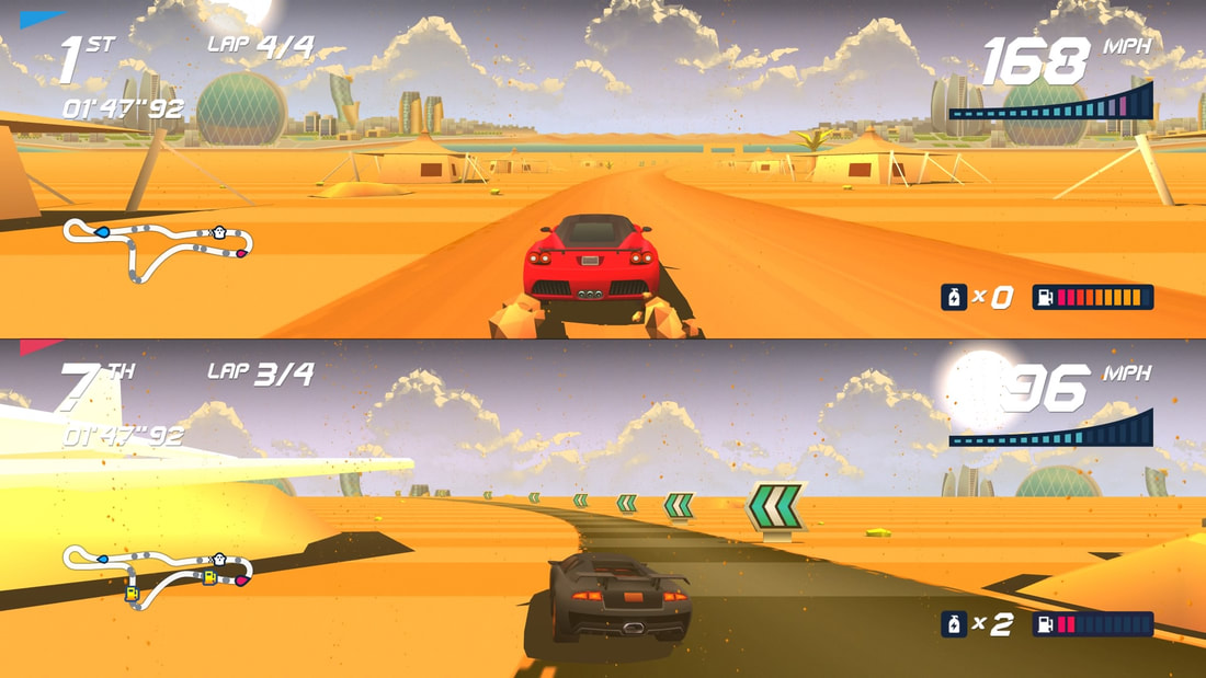 Horizon Chase Turbo PlayStation 4 PS4 desert two-player gameplay