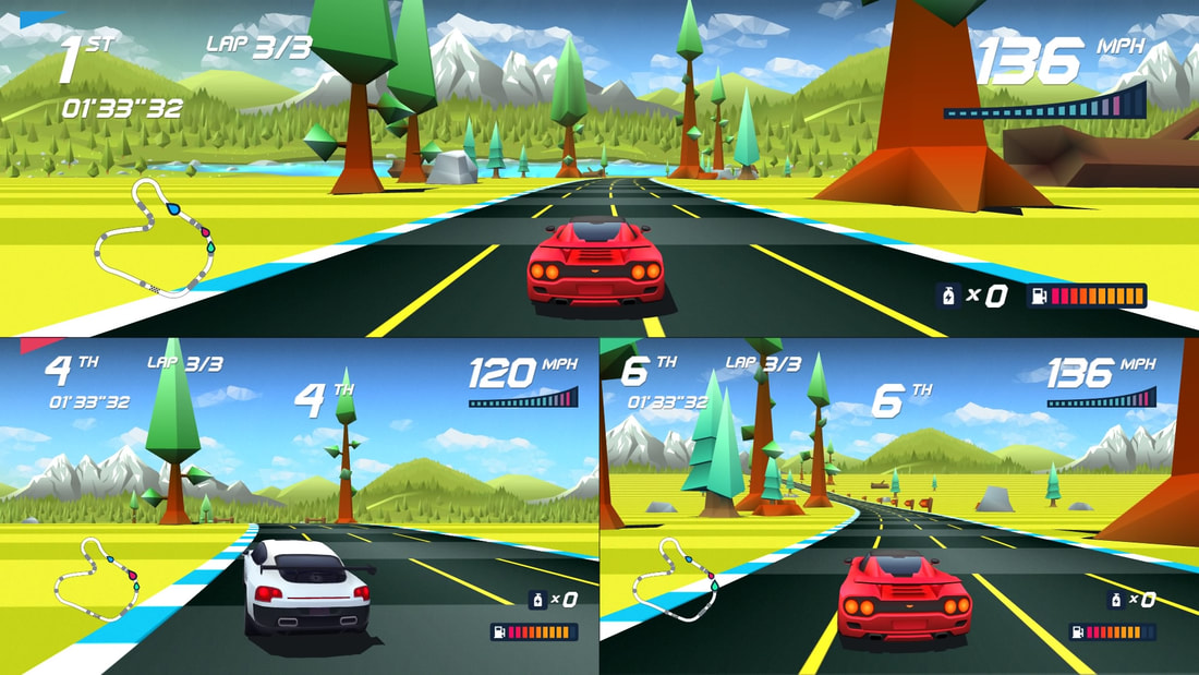 Horizon Chase Turbo PlayStation 4 PS4 three-player split screen gameplay