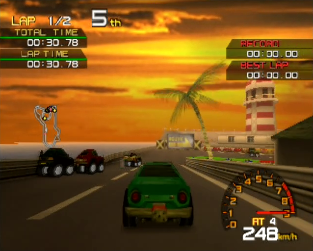 Penny Racers PlayStation 2 PS2 gameplay palm tree